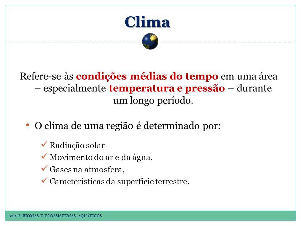 Clima Refere-se às condições médias do tempo em uma área – especialmente temperatura e pressão – durante um longo período.