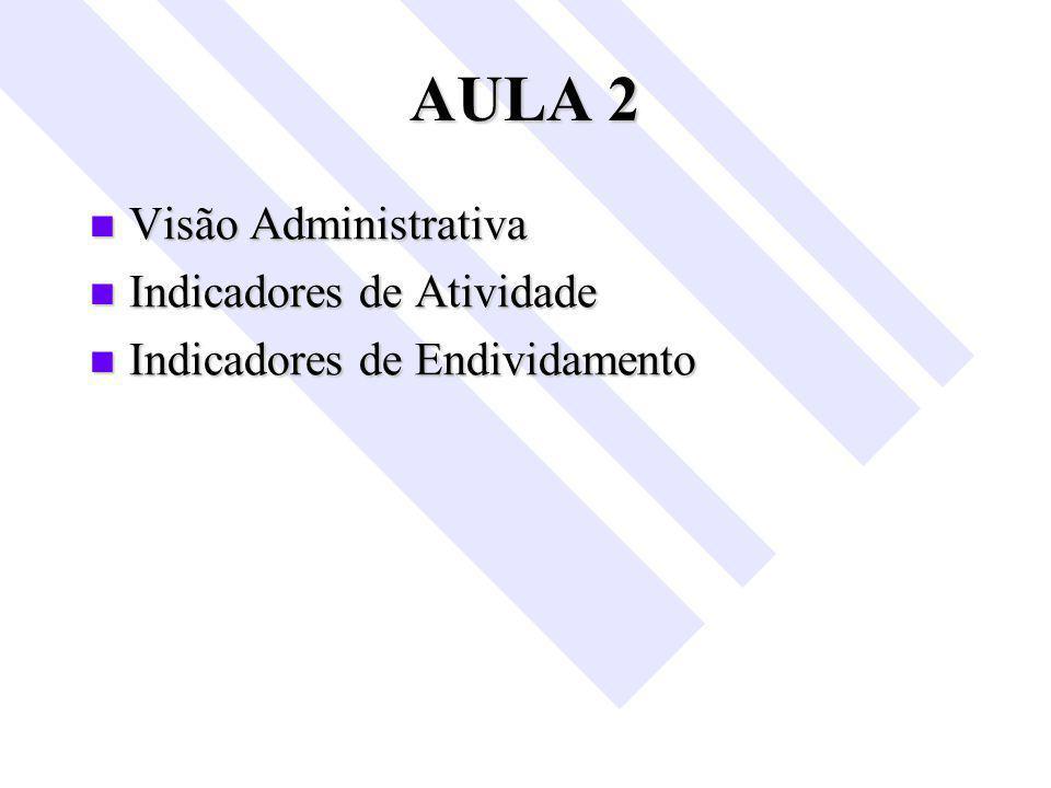 AULA 2 Visão Administrativa Indicadores de Atividade