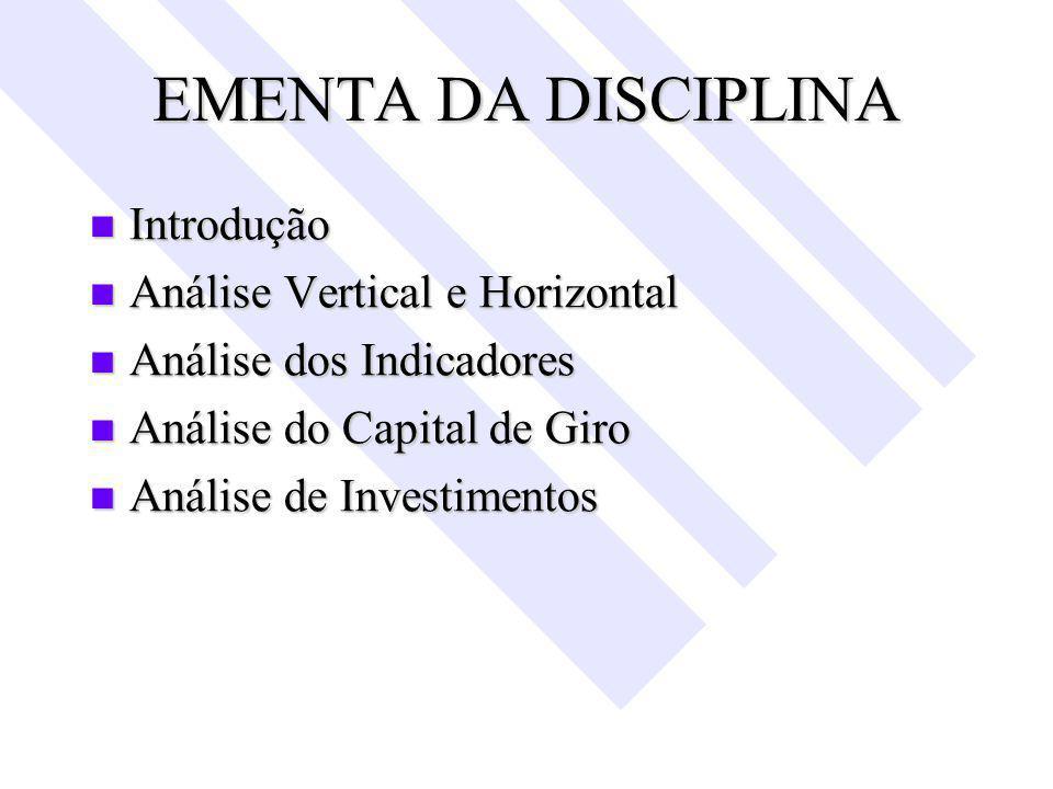 EMENTA DA DISCIPLINA Introdução Análise Vertical e Horizontal