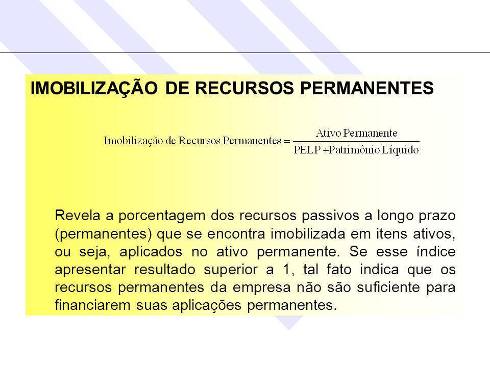 IMOBILIZAÇÃO DE RECURSOS PERMANENTES