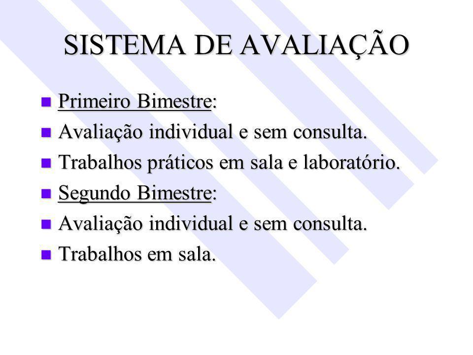 SISTEMA DE AVALIAÇÃO Primeiro Bimestre: