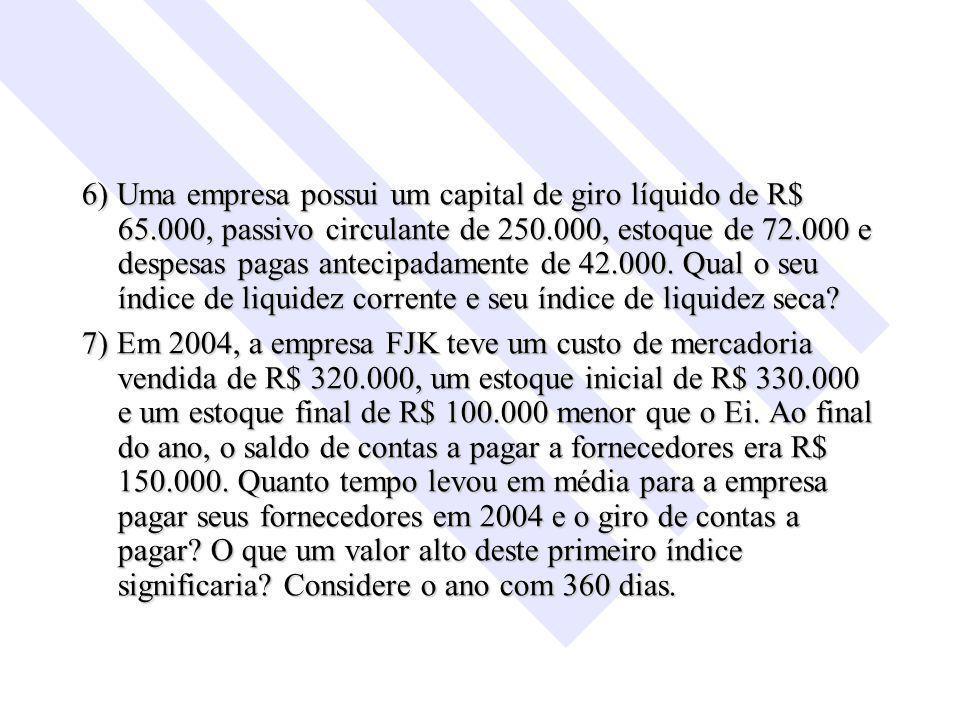 6) Uma empresa possui um capital de giro líquido de R$ 65