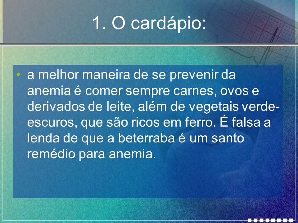 1. O cardápio: