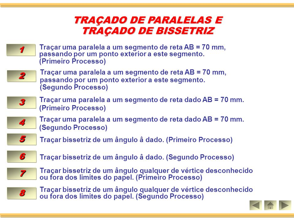 TRAÇADO DE PARALELAS E TRAÇADO DE BISSETRIZ 1 2 3 4 5 6 7 8