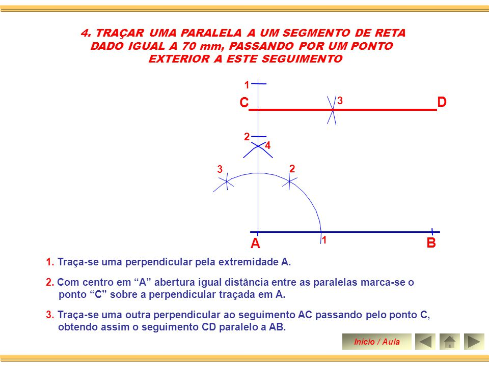 C D A B 4. TRAÇAR UMA PARALELA A UM SEGMENTO DE RETA