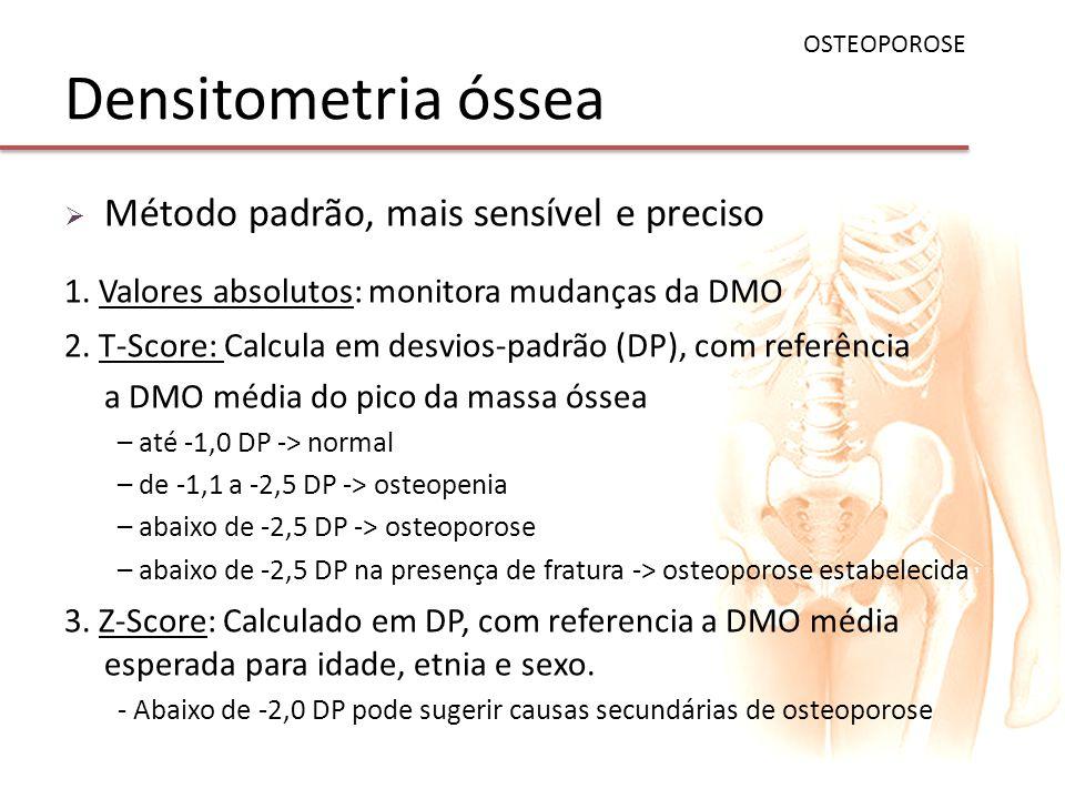 Densitometria óssea Método padrão, mais sensível e preciso