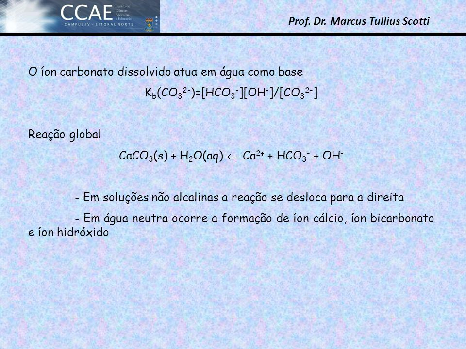 O íon carbonato dissolvido atua em água como base
