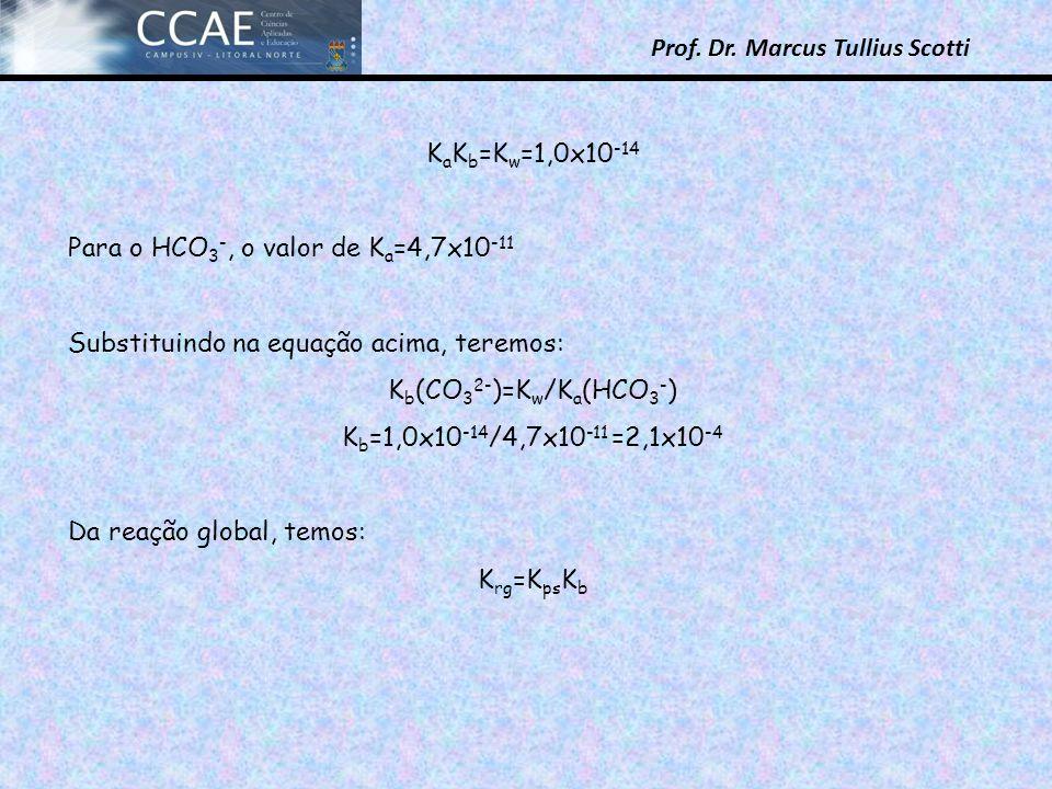 KaKb=Kw=1,0x10-14 Para o HCO3-, o valor de Ka=4,7x10-11. Substituindo na equação acima, teremos: Kb(CO32-)=Kw/Ka(HCO3-)