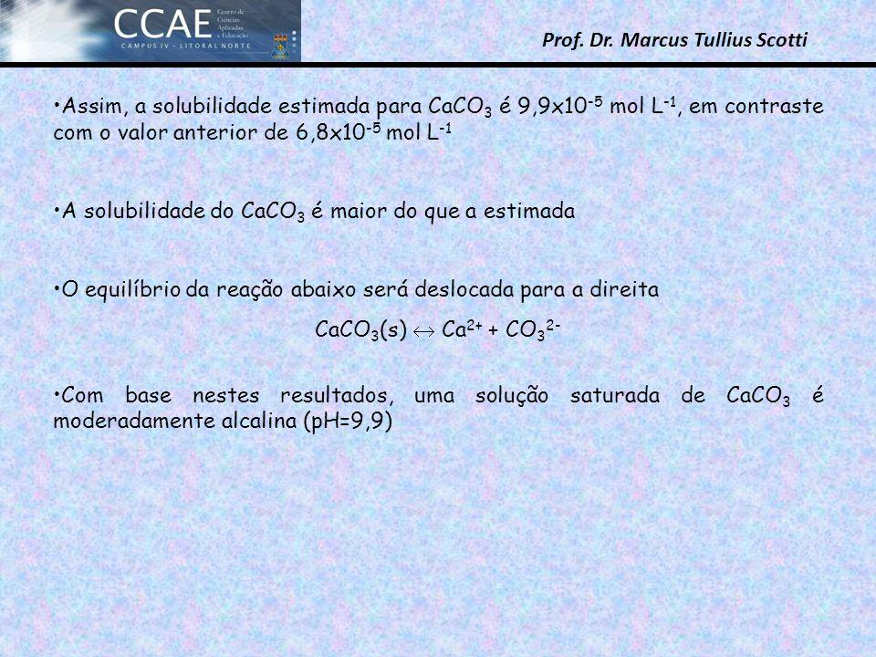 Assim, a solubilidade estimada para CaCO3 é 9,9x10-5 mol L-1, em contraste com o valor anterior de 6,8x10-5 mol L-1