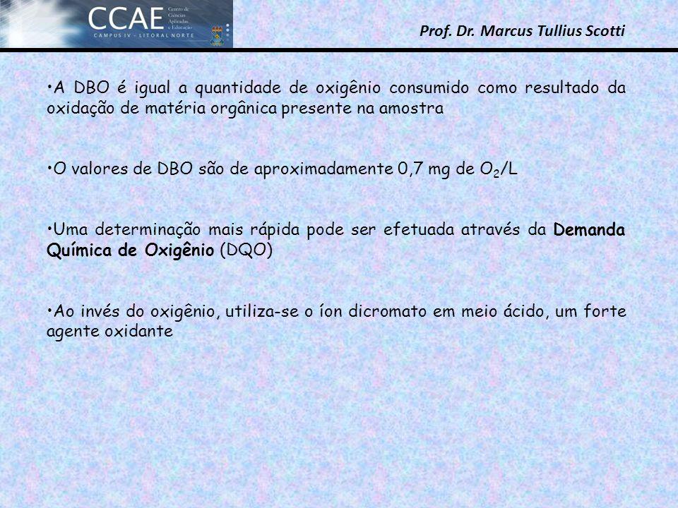 A DBO é igual a quantidade de oxigênio consumido como resultado da oxidação de matéria orgânica presente na amostra
