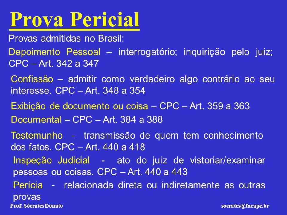Prova Pericial Provas admitidas no Brasil: