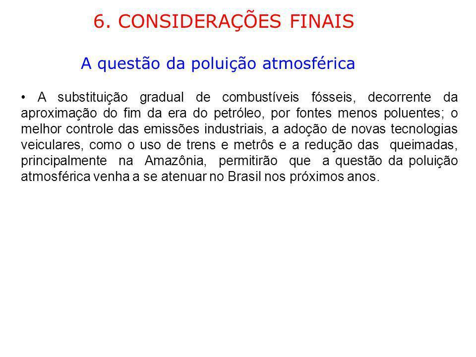 6. CONSIDERAÇÕES FINAIS A questão da poluição atmosférica