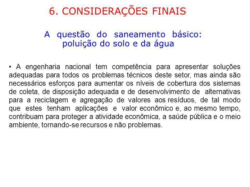 6. CONSIDERAÇÕES FINAIS A questão do saneamento básico: poluição do solo e da água.