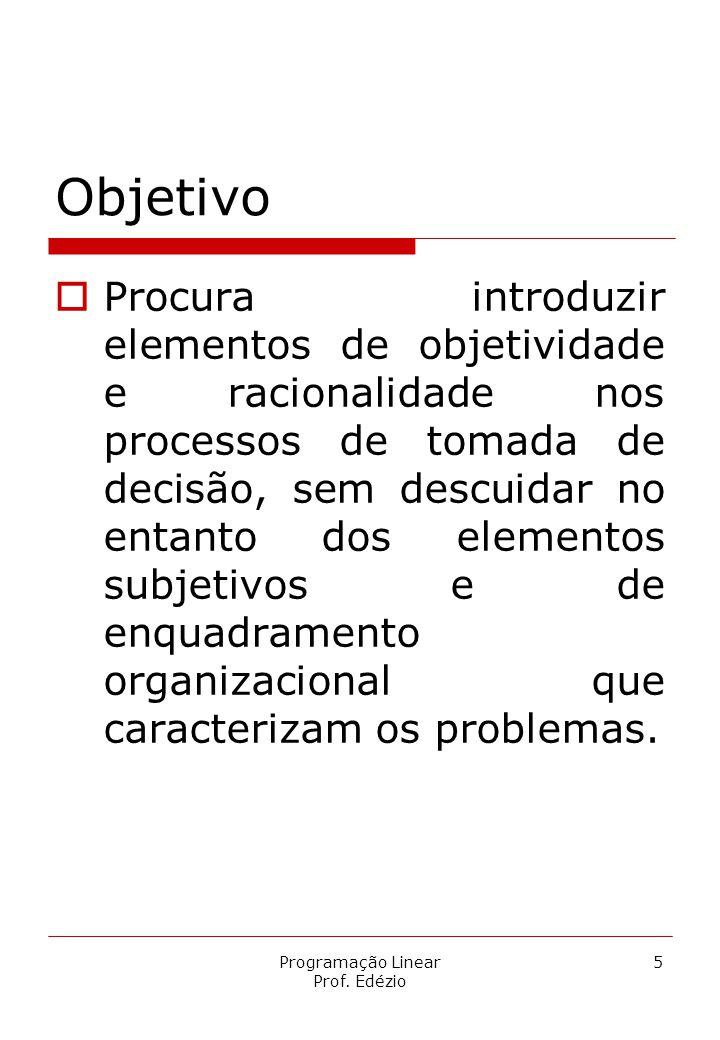 Programação Linear Prof. Edézio