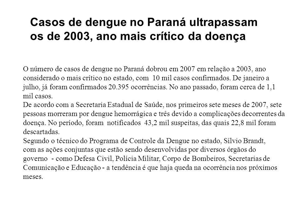 Casos de dengue no Paraná ultrapassam os de 2003, ano mais crítico da doença