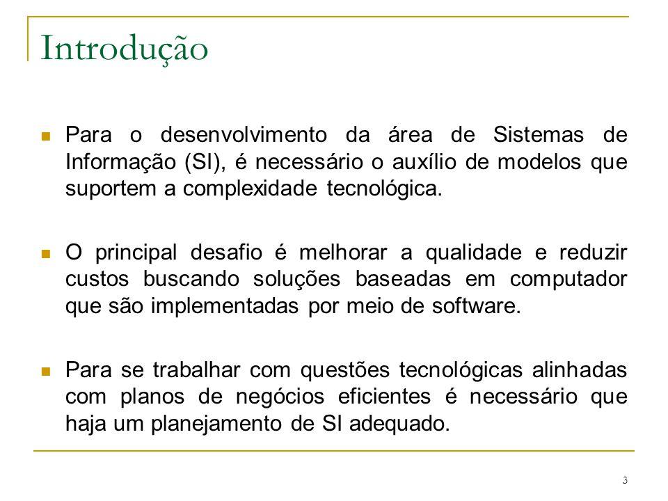 Introdução Para o desenvolvimento da área de Sistemas de Informação (SI), é necessário o auxílio de modelos que suportem a complexidade tecnológica.