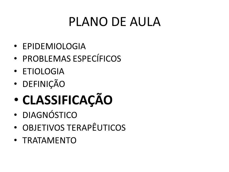 PLANO DE AULA CLASSIFICAÇÃO EPIDEMIOLOGIA PROBLEMAS ESPECÍFICOS