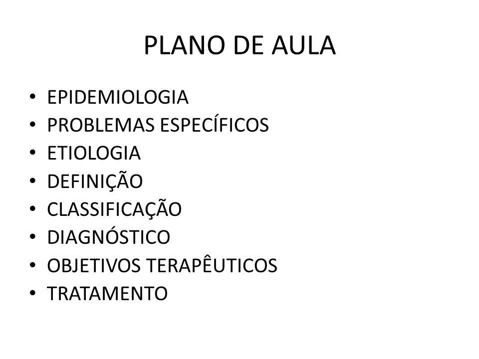 PLANO DE AULA EPIDEMIOLOGIA PROBLEMAS ESPECÍFICOS ETIOLOGIA DEFINIÇÃO