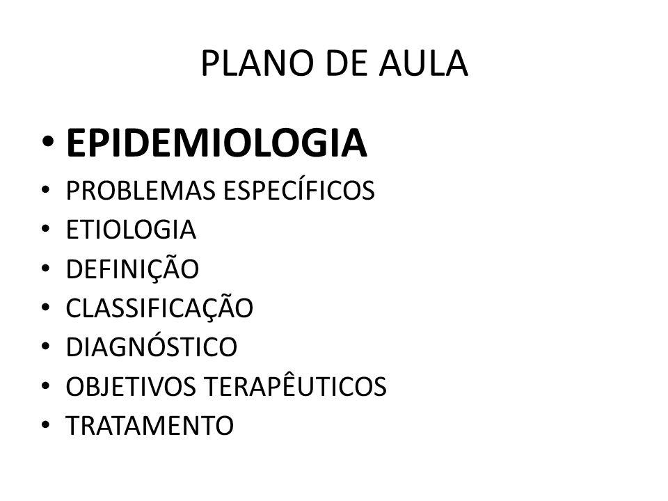 EPIDEMIOLOGIA PLANO DE AULA PROBLEMAS ESPECÍFICOS ETIOLOGIA DEFINIÇÃO