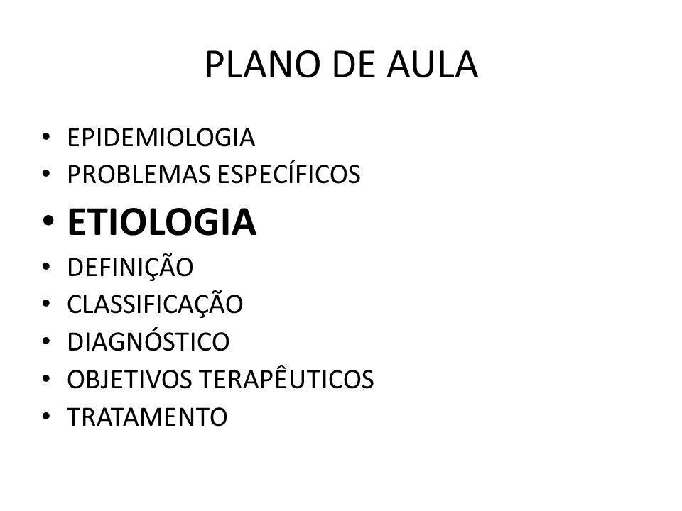 PLANO DE AULA ETIOLOGIA EPIDEMIOLOGIA PROBLEMAS ESPECÍFICOS DEFINIÇÃO