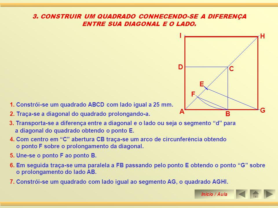 I H D C E F G A B 3. CONSTRUIR UM QUADRADO CONHECENDO-SE A DIFERENÇA
