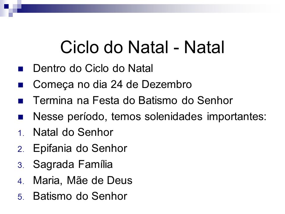 Ciclo do Natal - Natal Dentro do Ciclo do Natal
