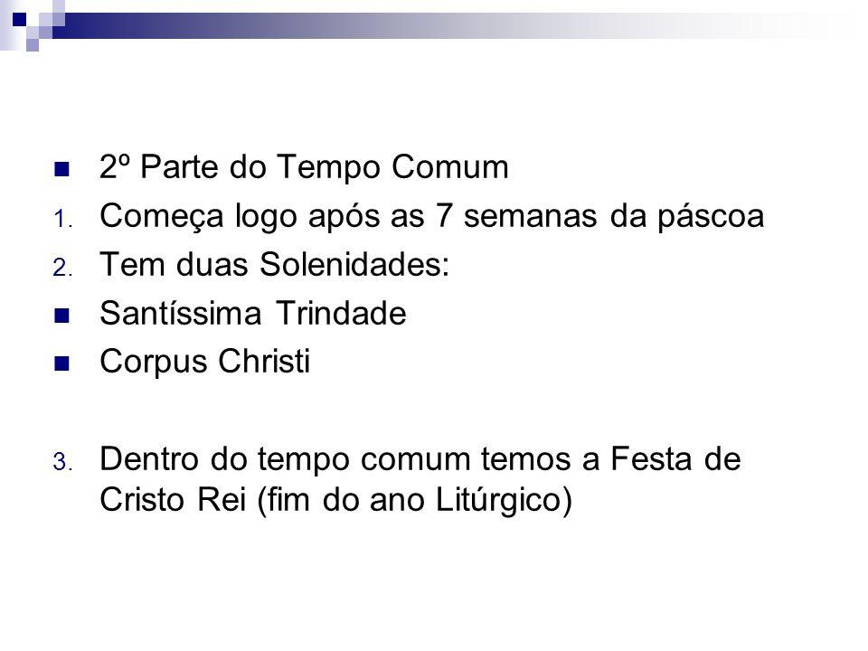 2º Parte do Tempo Comum Começa logo após as 7 semanas da páscoa. Tem duas Solenidades: Santíssima Trindade.
