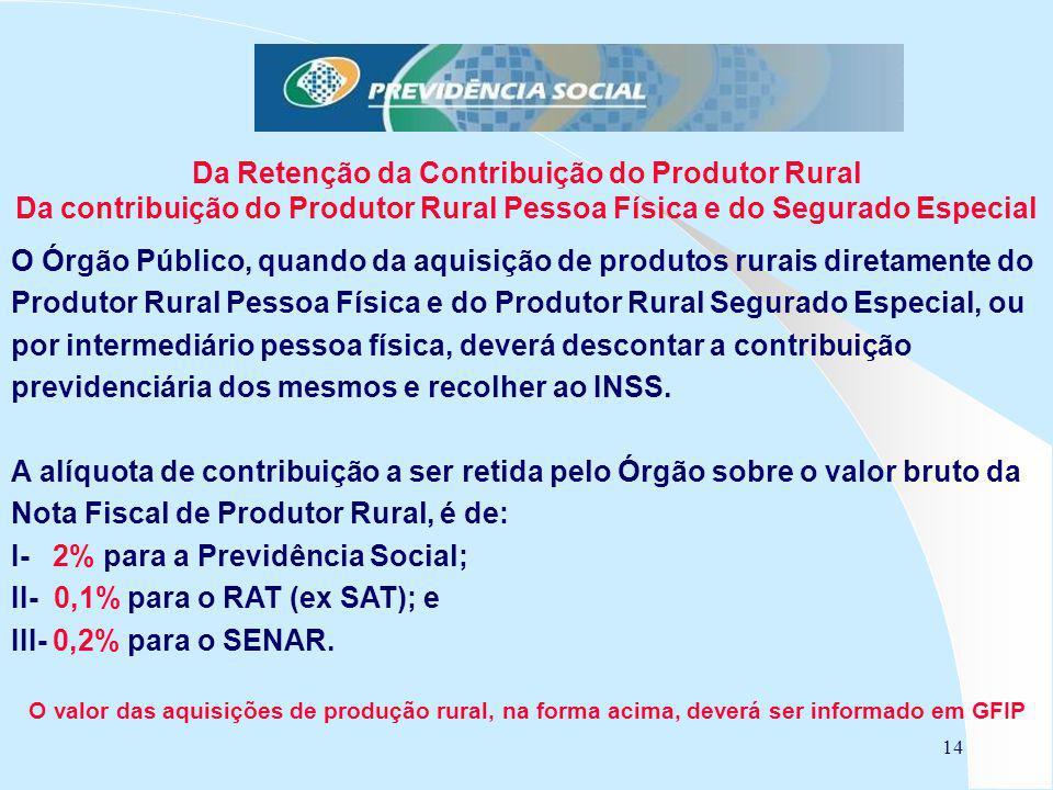 O Órgão Público, quando da aquisição de produtos rurais diretamente do