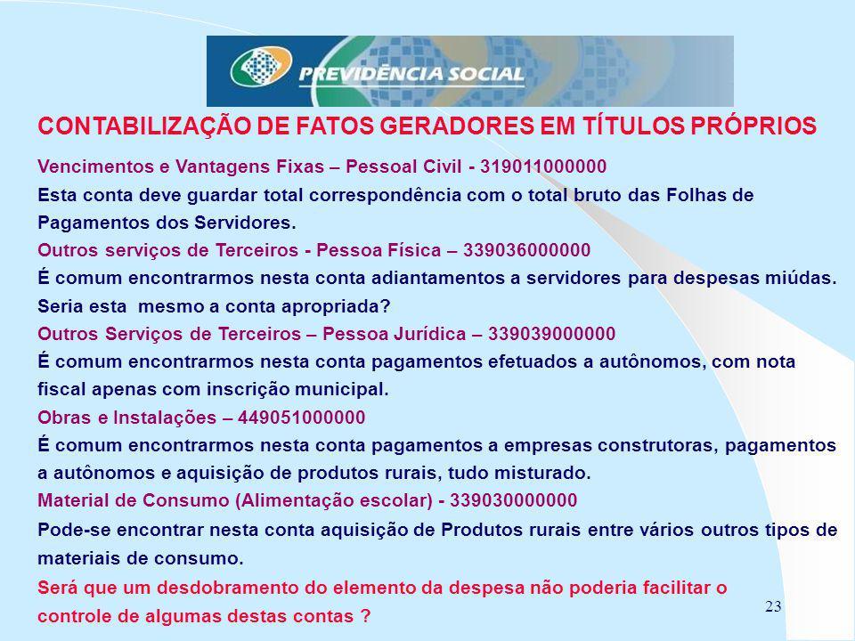 CONTABILIZAÇÃO DE FATOS GERADORES EM TÍTULOS PRÓPRIOS