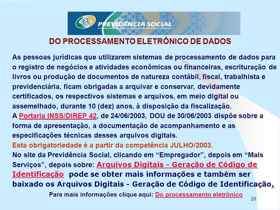 DO PROCESSAMENTO ELETRÔNICO DE DADOS
