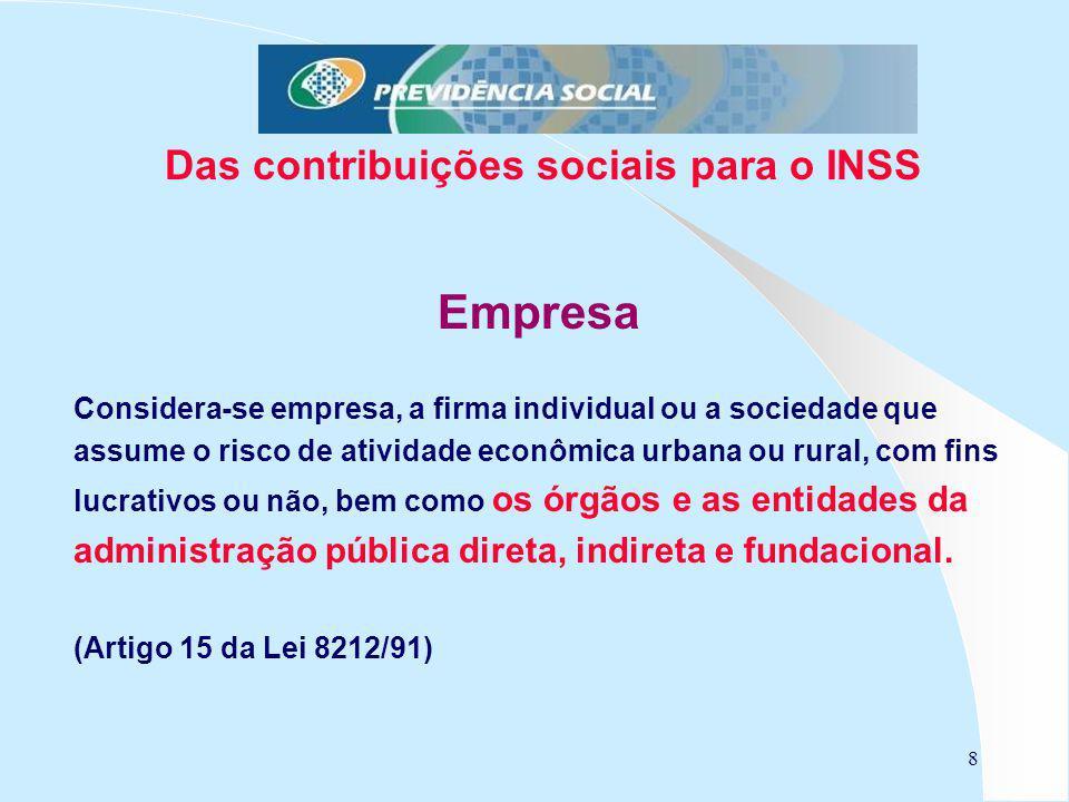 Das contribuições sociais para o INSS