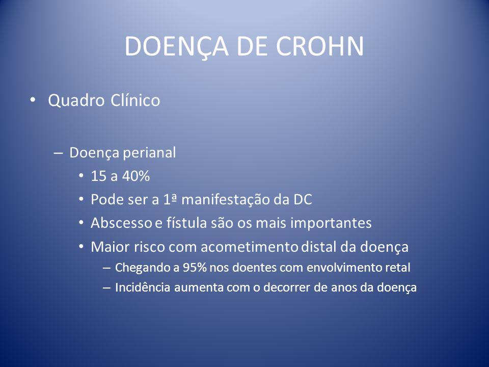 DOENÇA DE CROHN Quadro Clínico Doença perianal 15 a 40%
