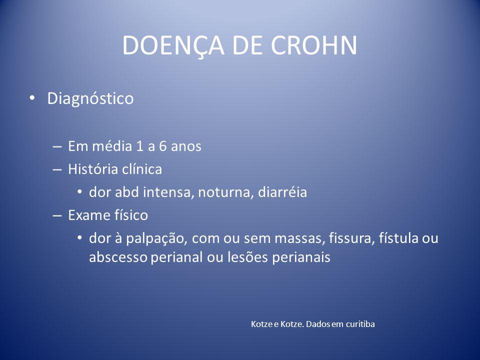 DOENÇA DE CROHN Diagnóstico Em média 1 a 6 anos História clínica