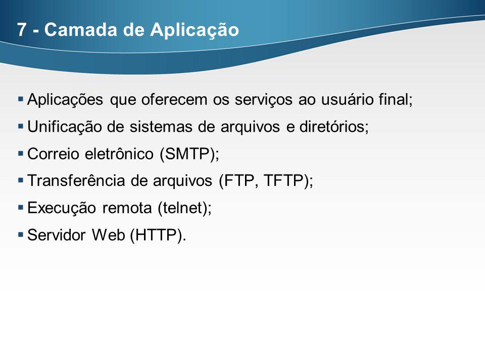 7 - Camada de Aplicação Aplicações que oferecem os serviços ao usuário final; Unificação de sistemas de arquivos e diretórios;