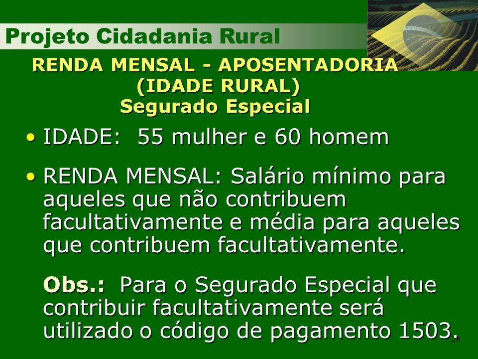 RENDA MENSAL - APOSENTADORIA (IDADE RURAL) Segurado Especial