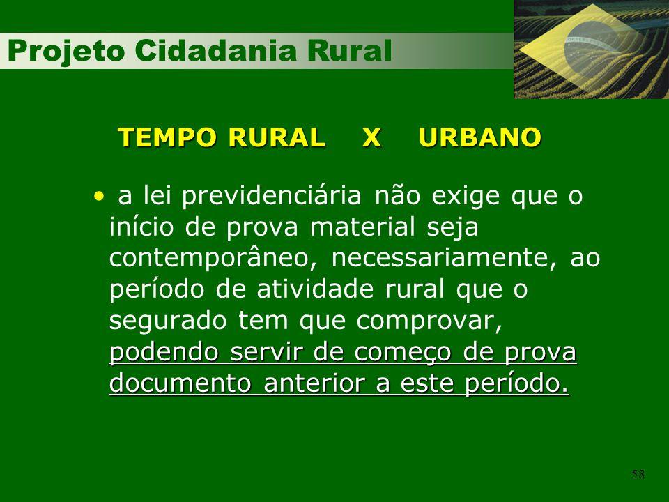 TEMPO RURAL X URBANO