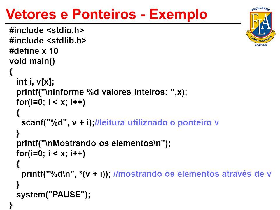Vetores e Ponteiros - Exemplo