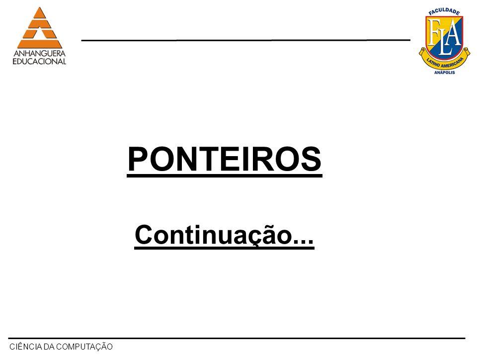 PONTEIROS Continuação... CIÊNCIA DA COMPUTAÇÃO