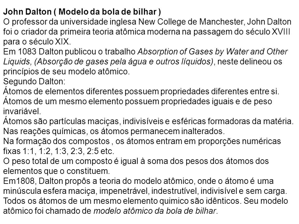John Dalton ( Modelo da bola de bilhar )