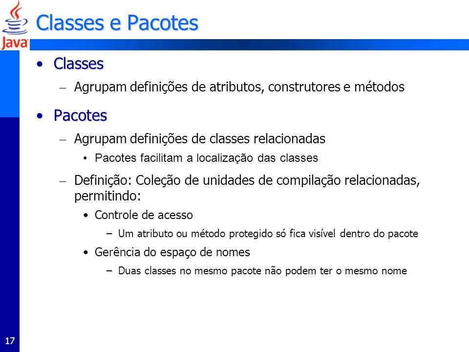 Classes e Pacotes Classes Pacotes