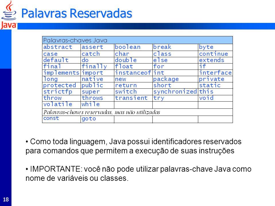 Palavras Reservadas Como toda linguagem, Java possui identificadores reservados para comandos que permitem a execução de suas instruções.