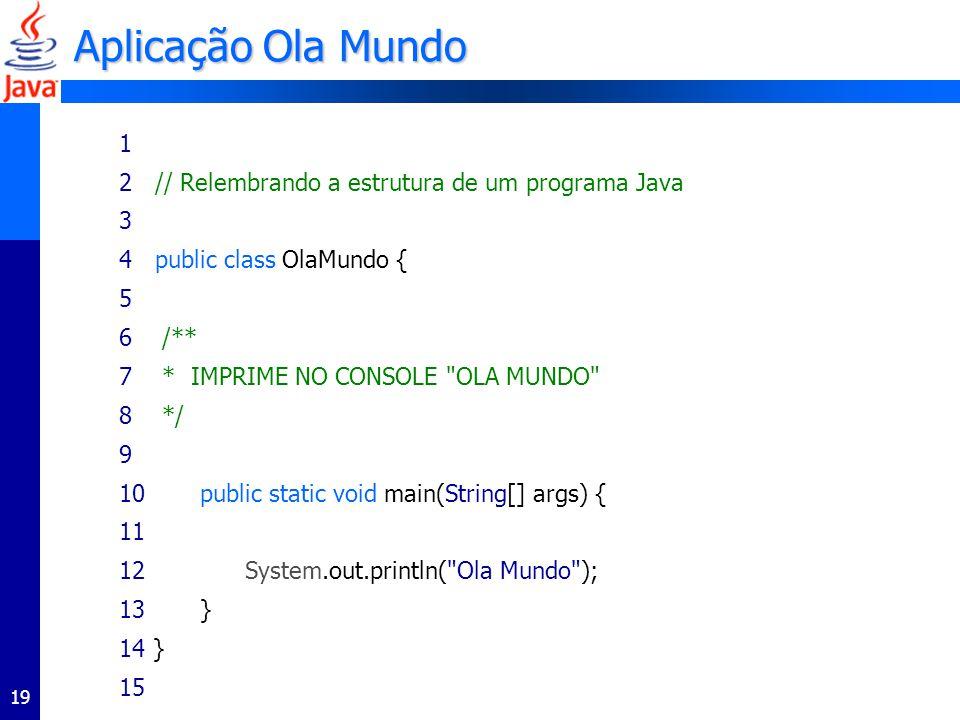 Aplicação Ola Mundo 1 2 // Relembrando a estrutura de um programa Java
