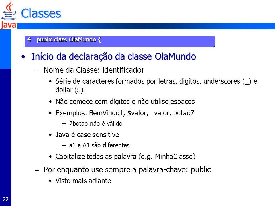 Classes Início da declaração da classe OlaMundo