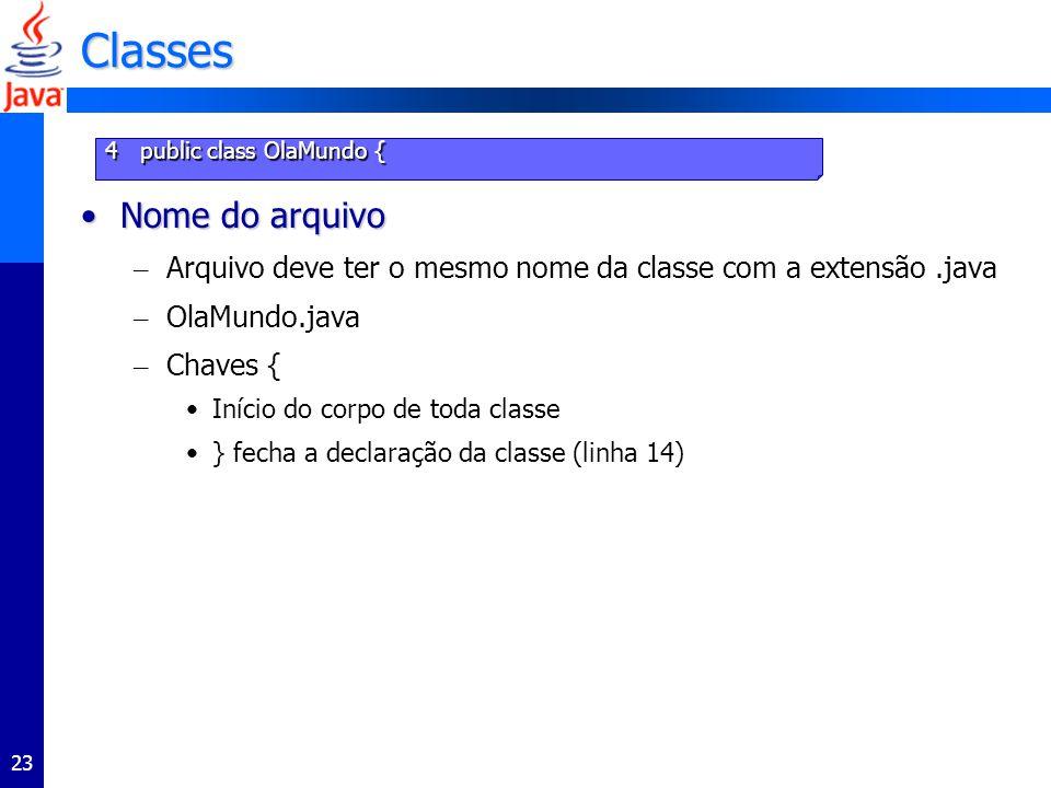 Classes Nome do arquivo