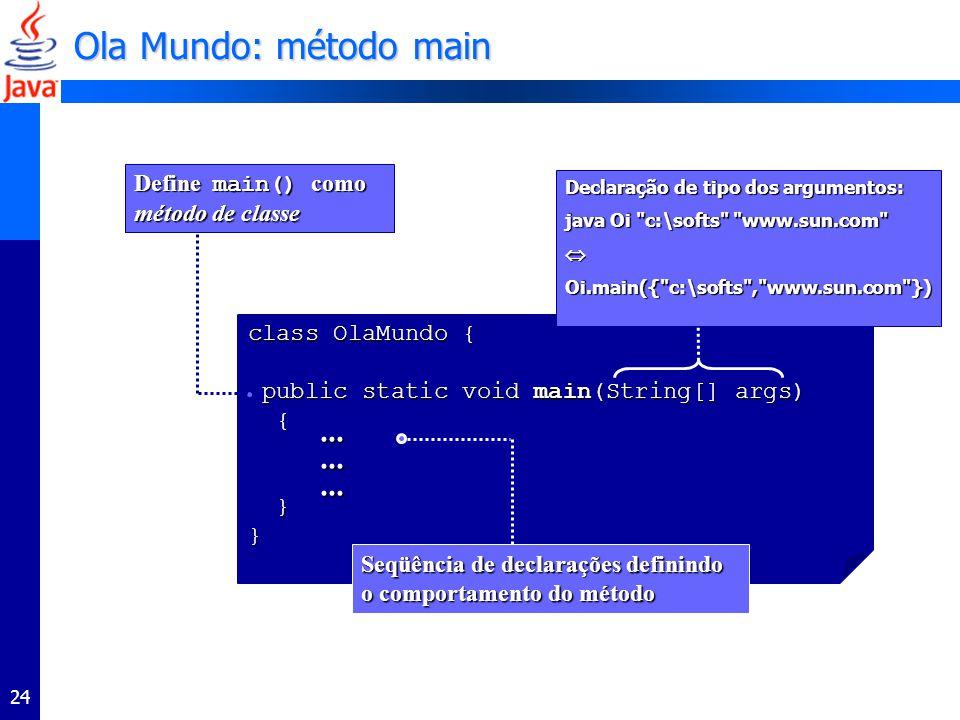 Ola Mundo: método main ... Define main() como método de classe