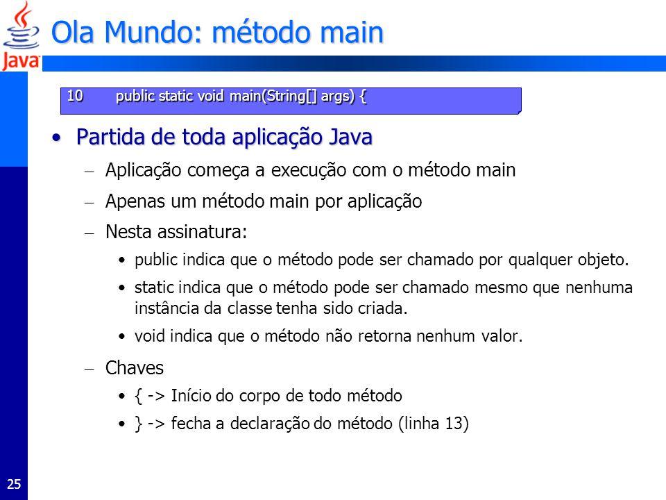 Ola Mundo: método main Partida de toda aplicação Java