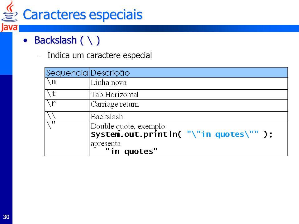 Caracteres especiais Backslash ( \ ) Indica um caractere especial