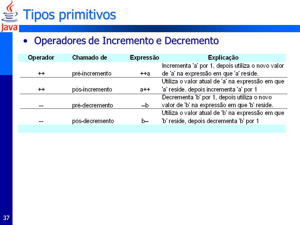 Tipos primitivos Operadores de Incremento e Decremento