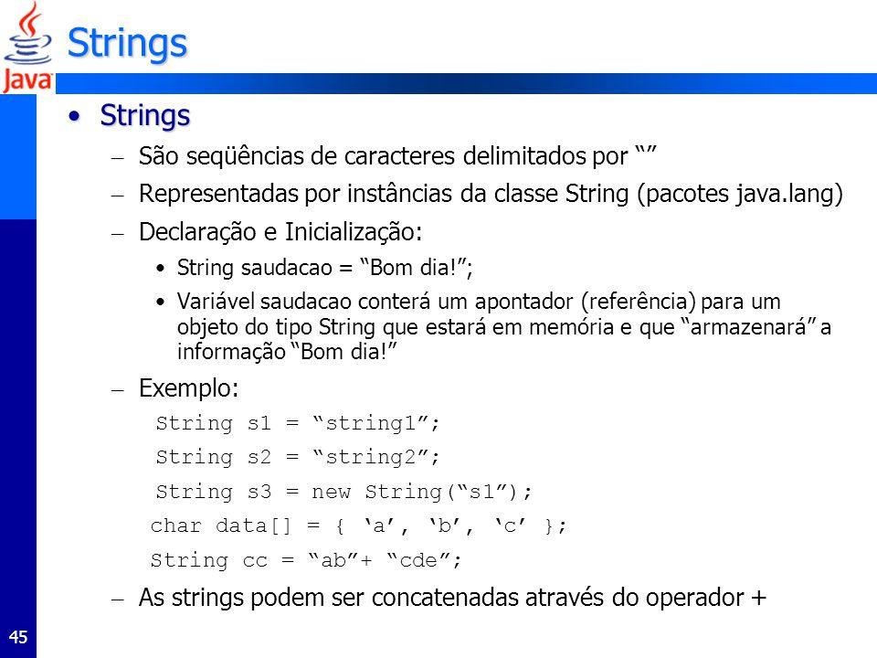 Strings Strings São seqüências de caracteres delimitados por