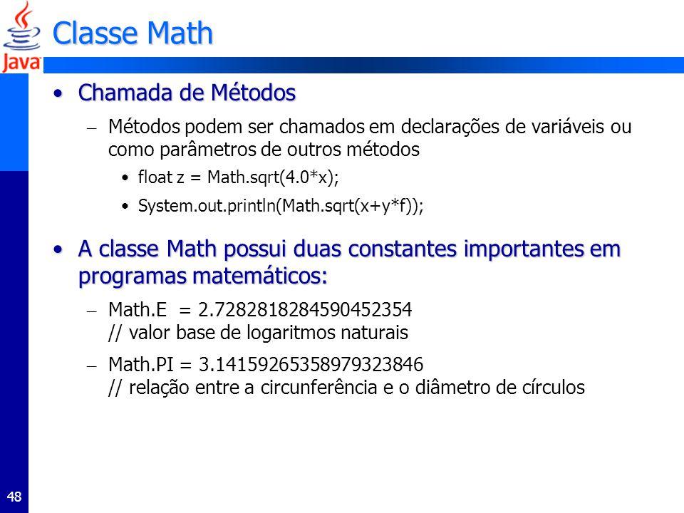 Classe Math Chamada de Métodos